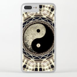 Yin Yang Geometry Mandala V1 Clear iPhone Case