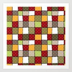 Retro . Squares with polka dots . Art Print