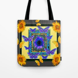 PURPLE & YELLOW BUTTERFLIES SUNFLOWER DESIGN Tote Bag