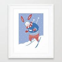 skiing Framed Art Prints featuring Skiing by Minna Karoliina