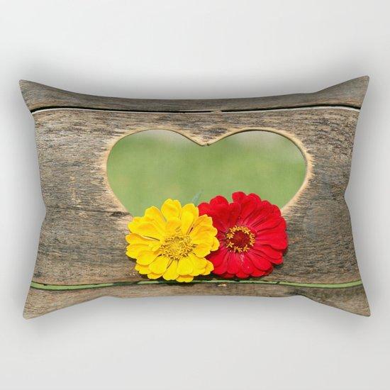 Wooden Heart with Flowers Rectangular Pillow