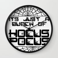 hocus pocus Wall Clocks featuring Just A Bunch Of Hocus Pocus by SandySueSunshine