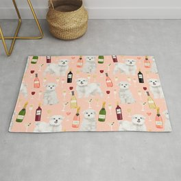 Maltese dog breed wine champagne summer pattern dog gifts pet friendly dogs Rug