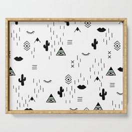 Indian summer aztec mayan symbol pattern Serving Tray