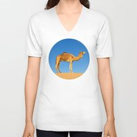 camel V-neck T-shirts featuring Camel by Chantal Seigneurgens