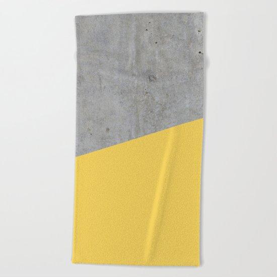 Concrete and primrose yellow color Beach Towel