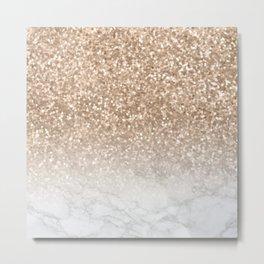 Pretty Gold Marble Sparkle Metal Print