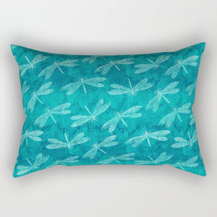 Dragonfly Dance Blue Green Rectangular Pillow