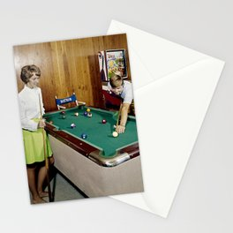 1960's Game Room, Pool Table in the Admiral Motel, Wildwood, NJ Stationery Cards