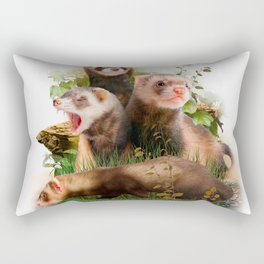 Four Ferrets in Their Wild Habitat Rectangular Pillow