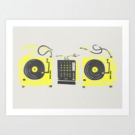 DJ Vinyl Decks And Mixer Art Print