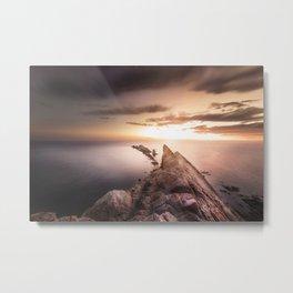 Sunset Coast, Waves and Rocks Metal Print
