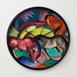 Three Horses by Franz Marc Wall Clock