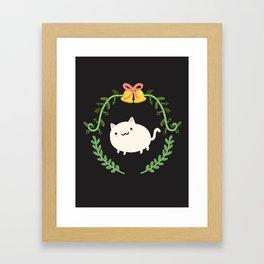 Wreath + Cat Framed Art Print
