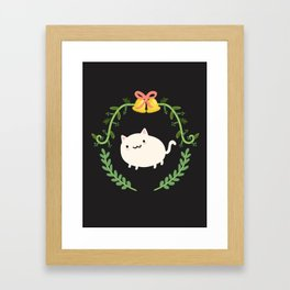 Wreath + Cat Framed Art Print