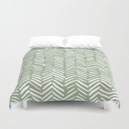 Boho Herringbone Pattern, Sage Green and White Duvet Cover