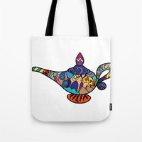 aladdin Tote Bags featuring Looking for the genie by Ilse S