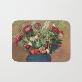 Odilon Redon - Papavers And Carnations In A Blue Vase Bath Mat