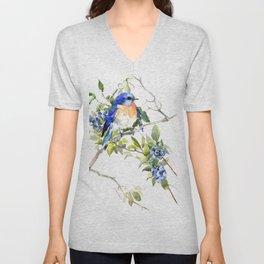 Bluebird and Blueberry Unisex V-Neck