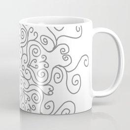 Gray Line Swirl Mandala Coffee Mug