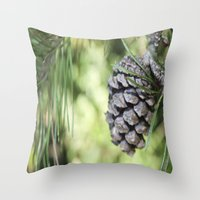 rileigh smirl Throw Pillows featuring Pinecone by Rileigh Smirl
