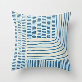 Digital Stitches thick beige + blue Throw Pillow