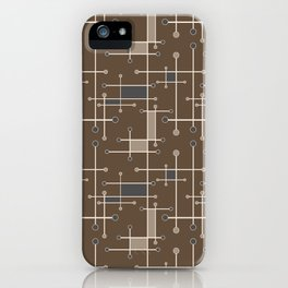 Intersecting Lines in Brown, Tan and Gray iPhone Case