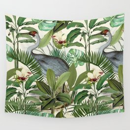 Tropical Heron Bird Rainforest Illustration Wall Tapestry