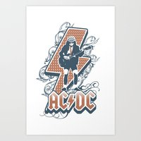 acdc Art Prints featuring acdc angus young by aceofspades81