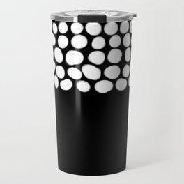 Soft White Pearls on Black Travel Mug
