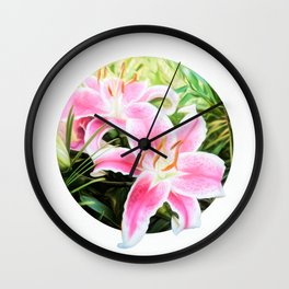 Stargazer Lily Modern Circle Art Wall Clock