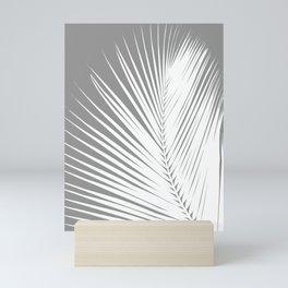 Large Palm Leaf, Grey / Gray and White Mini Art Print