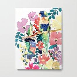 Blooming Lorikeets Metal Print