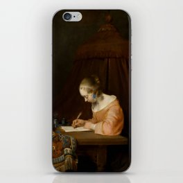 """Gerard ter Borch """"Woman writing a letter"""" iPhone Skin"""
