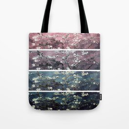 Vincent Van Gogh : Almond Blossoms Panel aRt Dark Pink Eggplant Teal Tote Bag