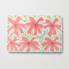 Tropical Sunburst Flowers Metal Print