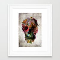 headphones Framed Art Prints featuring SKULL 2 by Ali GULEC