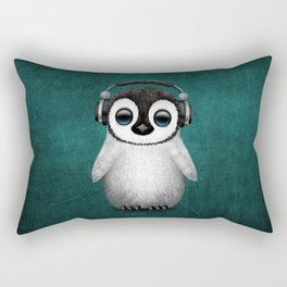 Cute Baby Penguin Dj Wearing Headphones on Blue Rectangular Pillow