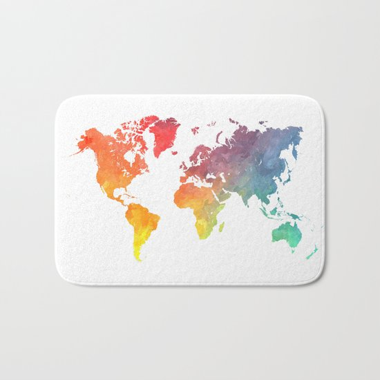 Map of the world colored Bath Mat