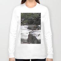 yosemite Long Sleeve T-shirts featuring Yosemite Rapids by Angela McCall