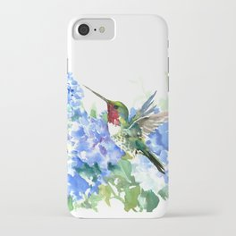Hydrangea Flowers and Ruby Throat Hummingbird iPhone Case