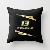 f1 Throw Pillows featuring F1 2015 - #13 Maldonado by MS80 Design