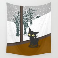 snow Wall Tapestries featuring Snow by BATKEI
