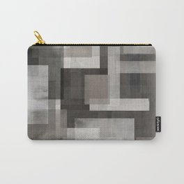 Modern Abstract No. 1 |  Black, White, Taupe + Gray Carry-All Pouch