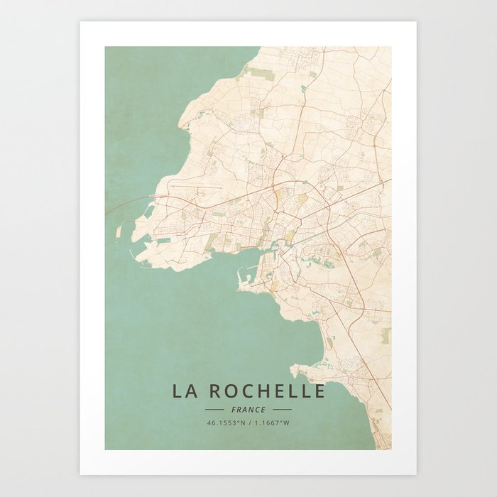Map Of France La Rochelle.La Rochelle France Vintage Map Art Print By Designermapart