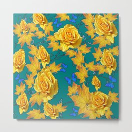 TEAL COLORED GARDEN OF YELLOW ROSES Metal Print