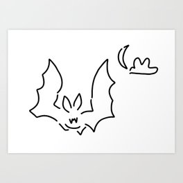 bat flughund at night moon Art Print