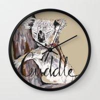 cuddle Wall Clocks featuring koala cuddle by Katy Lloyd