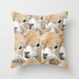 Alpaca Herd Throw Pillow