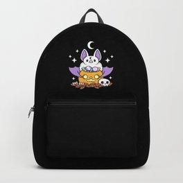 Pumpkin Bat // Black Backpack